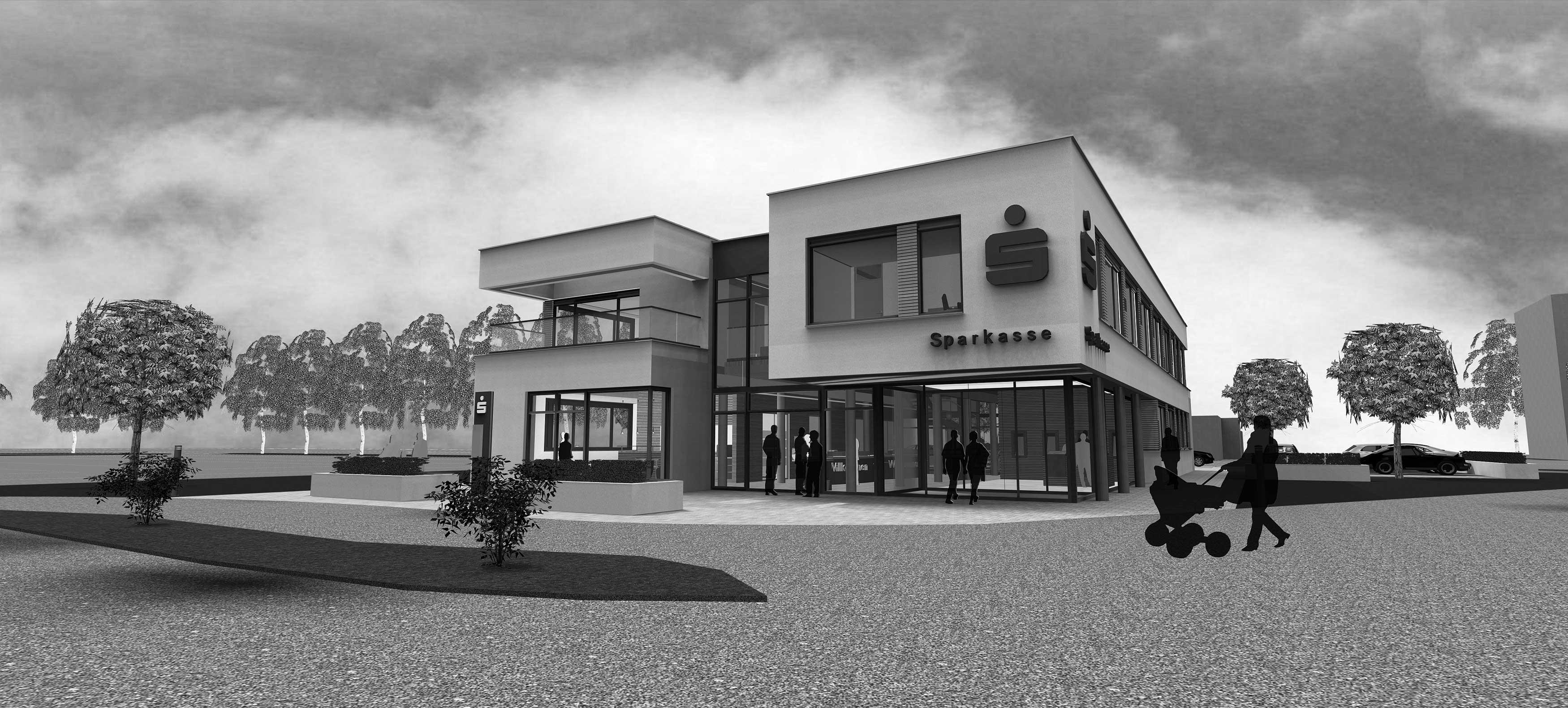Architektur- & Ingenieurbüro Schulenberg in Hamm - Projekt: Wettbewerb Sparkasse Hamm, Neubau einer Geschäftstelle in Hamm-Werries